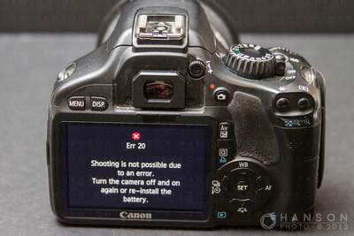 Canon T2i 550D err 20 error message